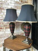 Set Of 2 Maison Jansen Hand-made, Hand-painted Brass Plaid Table Lamps