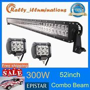 52inch 300w Led Work Light Bar Screws Style Combo Offroad Driving Lamp+2x 18w