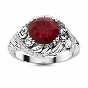 Natural Aaa Ruby And Diamond Vintage Art Deco Engagement Ring Solid 14k White Gold