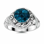 Real London Blue Topaz And Diamond Vintage Art Deco Engagement Ring 14k White Gold