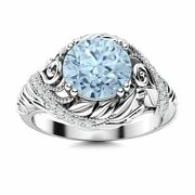 Natural Aaa Aquamarine And Diamond Vintage Art Deco Engagement Ring 14k White Gold