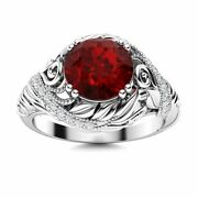 Natural Aaa Garnet And Diamond Vintage Art Deco Engagement Ring In 14k White Gold