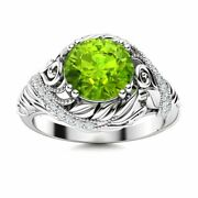 Natural Aaa Peridot And Diamond Vintage Art Deco Engagement Ring In 14k White Gold