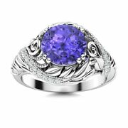 Natural Tanzanite And Diamond Vintage Art Deco Engagement Ring In 14k White Gold