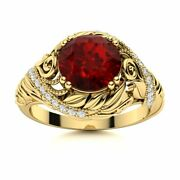 Natural Aaa Garnet And Diamond Vintage Art Deco Engagement Ring In 14k Yellow Gold