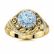Natural Aquamarine And Diamond Vintage Art Deco Engagement Ring 14k Yellow Gold