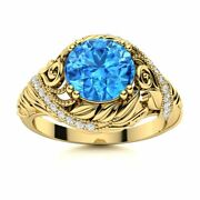 Natural Blue Topaz And Diamond Vintage Art Deco Engagement Ring 14k Yellow Gold