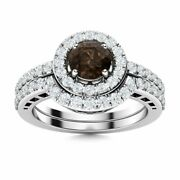 Natural Smoky Quartz And Si Diamond 14k White Gold Halo Bridal Engagement Ring Set