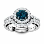 Real London Blue Topaz And Diamond 14k White Gold Halo Bridal Engagement Ring Set