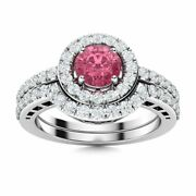 Natural Pink Sapphire And Diamond 14k White Gold Halo Bridal Engagement Ring Set