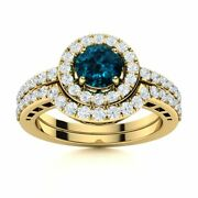 Real London Blue Topaz And Diamond 14k Yellow Gold Halo Bridal Engagement Ring Set