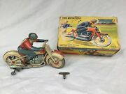 Technofix Ge 255 Motorcycle Trick Motorcycle Tin Toy Vintage Boxed