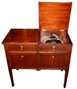 Early 20th C. Victrola Style Record Player Cabinet W/ Record Storage