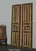 Antique Highly Carved Wood Lion Motif Panel Doors Reversible Red Oriental Asian