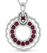 Christmas 2.12ctw Round Natural Diamond Ruby 14k Solid White Gold Pendant