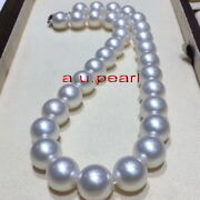 Big Aaaaa 2013-15mm Round Real Natural South Sea White Pearl Necklace 14k Gold