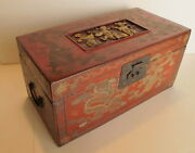 Antique Chinese Red Alter/jewelry Box Gilt Carved Figures Painted Gold Dragons