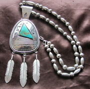 Native American Sterling Silver Bisbee Turquoise Necklace Pendant Gilbert Morgan