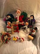 Vintage Annalee Christmas Lot Of 10 Used Dolls 60andrsquos-90andrsquos Holiday Decorations