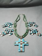One Of The Best Vintage Santo Domingo Turquoise Cross Sterling Silver Necklace