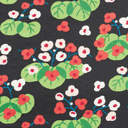 Schumacher Whimsical Water Lilies Linen Fabric 10 Yards Black Green Multi