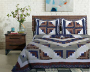 3pc Colorado Log Cabin Patchwork Queen Bed Quilt. Bedding Package Set