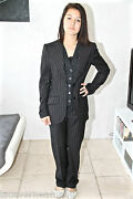 Luxurious Suit Black Pants Striped Class Bcbg Dolce And Gabbana Size 40 New