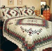 Victorian Treasure Patchwork California King Bed Quilt. Floral Patchwork Quilt