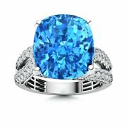 Certified 7.80 Carat Natural Aaa Blue Topaz And Si Diamond In 14k White Gold Ring