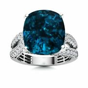 Certified 7.80 Carat Natural London Blue Topaz And Si Diamond 14k White Gold Ring