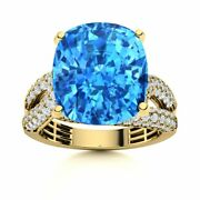 Certified 7.80 Carat Natural Aaa Blue Topaz And Si Diamond In 14k Yellow Gold Ring
