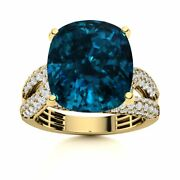 Certified 7.80 Carat Natural London Blue Topaz And Si Diamond 14k Yellow Gold Ring