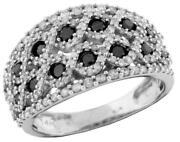 Estate 1.03ct White And Black Diamond 14kt Gold Double Infinity Anniversary Ring