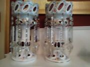 Gorgeous Antique Bohemian Crystal Panted Lusters White Cased On Ruby Glass