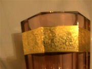 Dazzling Magnificent Moser Crystal Rose Color Facetted Vase Gold Amazonia Border