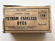 Putnam Fadeless Dyes Vintage Original Shipping Box Full Package Monroe Chemical