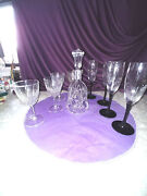 Crystal Decanter And 2 Sets Of 4 Glasses Wine And Amethyst Color Bottom