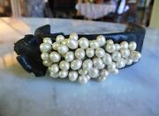 Vintage Handmade Leather Bracelet With Button Closure And Faux Grape Pearl Cluster