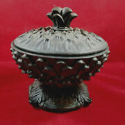 Wooden Pedestal Bowl With Lid Black Carved Leaves 5 In Tall 4.5 Diameter