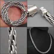 Artisan Woven Tribal Snake 925 Sterling Silver Mens Necklace Chain 20 22 24 26