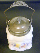 Antique New Amsterdam Silver Co Art Glass Hand Painted Cookie / Biscuit Jar
