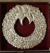 Gorham Christmas Wreath,silver Plated Metal Footed Trivet Wall Hanging Italy