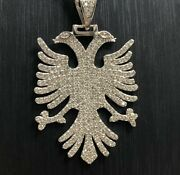 925 Sterling Silver Solid Cz Albanian Eagle Tag Pendant Rope Byzantine Curb