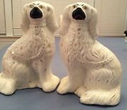 Pair White Glazed Staffordshire Seated Spaniel Dogs Figurines