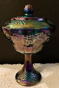 Indiana Harvest Grape Carnival Glass Iridescent Blue Covered Compote Candy Dish