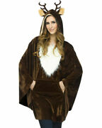 Plush Brown Reindeer Pullover Poncho With Faux Fur Trim Antlers Headband 1 Size
