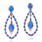 18k Yellow Gold Silver Blue Sapphire And Opal Dangle Earrings Jewelry