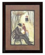 Mid Century Modern Barbara A. Wood At The Park Framed Signed Offset Lithograph