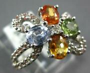 Large 2.09ct Diamond And Aaa Multi Color Sapphire 18kt White Gold Flower Love Ring