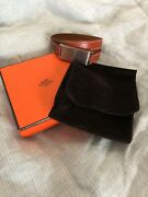Hermes Double Tour Brown Usb Leather Bracelet- New With Box And Pouch